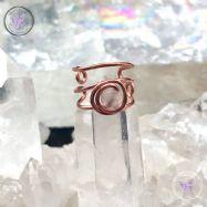 Rose Quartz Triple Band Copper Ear Cuff